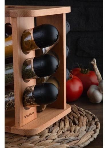 Joy Kitchen  Joy Kitchen Elanor 12'li Dönen Baharatlık Seti - Siyah Kapaklı Renkli
